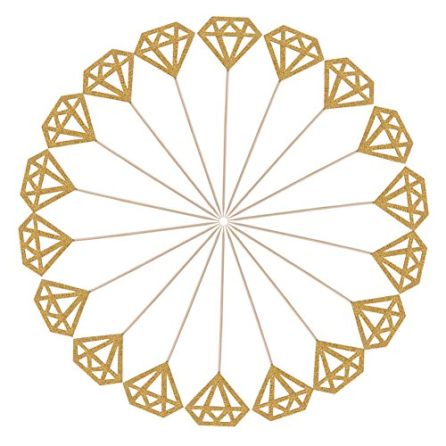 Price comparison product image ZICOME 50 Pack Double Sided Gold Glitter Diamond Cupcake Toppers for Bridal Shower Wedding Birthday Party (Diamond)