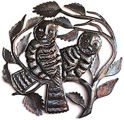 Metal Owl Wall Hanging Home Living Decor Handmade In Haiti 22 In X 22 In Home Kitchen Amazon Com