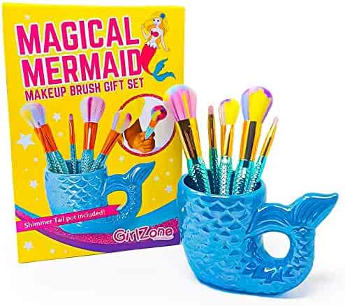 GirlZone: Fun Mermaid Makeup Brushes Kit, Great Gift for Girls