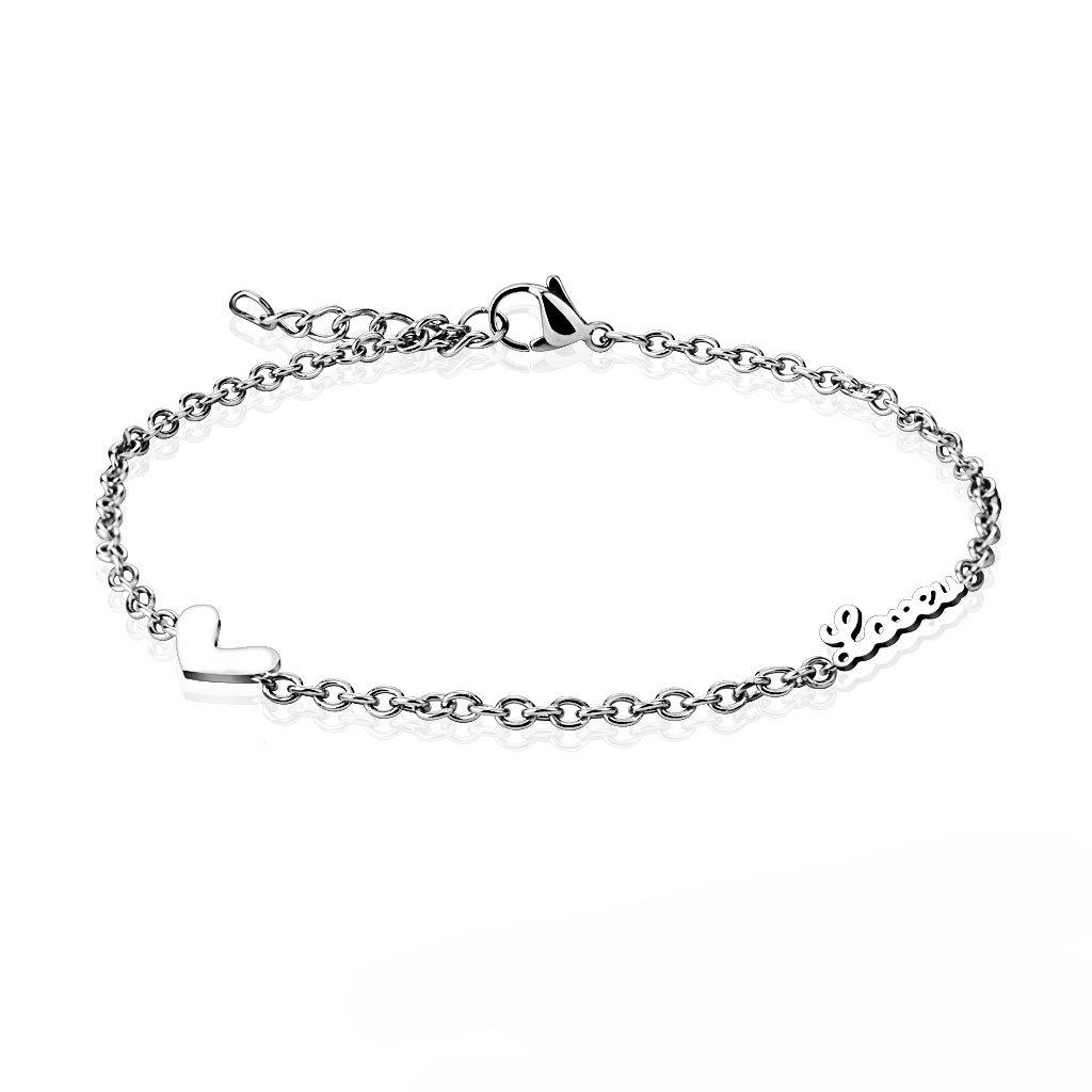 BodyJ4You Anklet Bracelet Love Heart Dangle Stainless Steel
