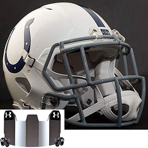 Riddell Indianapolis Colts NFL Replica Football Helmet with S2EG-SW-SP Football Helmet Facemask/Faceguard and Mirrored Eye Shield/Visor