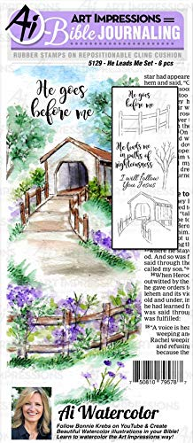 Art Impressions WC5129 Bible Journaling Watercolor Rubber Stamps-He Leads