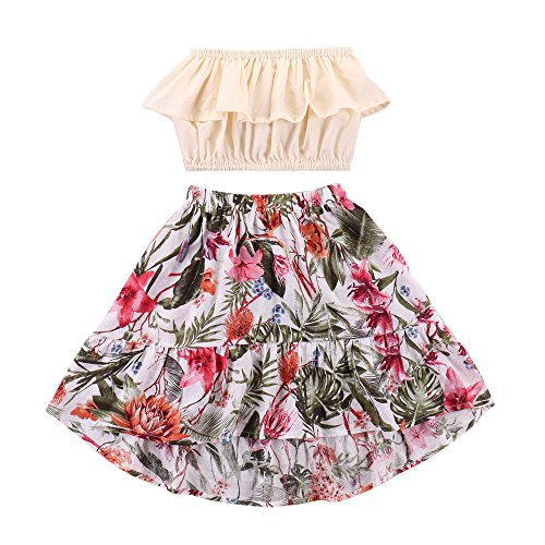 Kids Little Girl Clothes Baby Clothes Outfits Girls 2 Piece Summer Beach Yellow Ruffle Off Shoulder Tube Top Shirt + Ruffle Red Floral and Green Leaves Midi Skirts Set Long Dress for Girls 7-8T