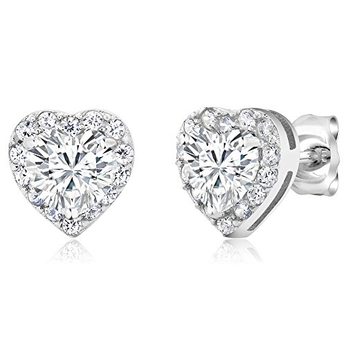 Shape Earrings Heart Silver Sterling (925 Sterling Silver Heart Shape Women's Halo Cubic Zirconia Earring (2.32 Cttw. 5MM Center Stone))