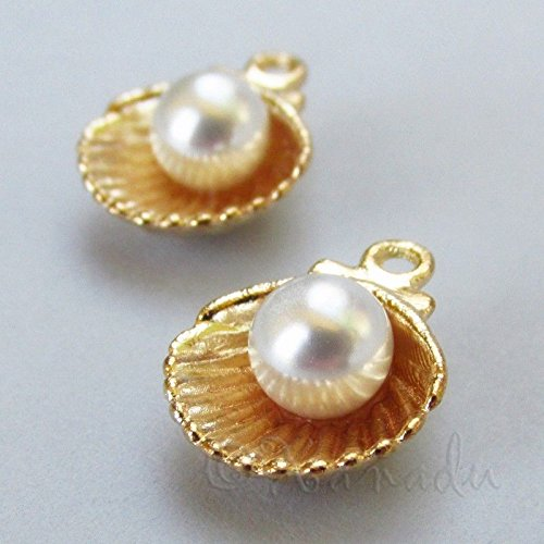 Charm - Jewelry - Pendant - Scallop Shell with Pearl 5 ()
