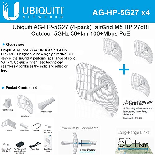 Ubiquiti 4-PACK airGrid M5 HP 27dBi AG-HP-5G27 Outdoor 5GHz 30+km 100+Mbps PoE by Ubiquiti Networks