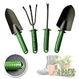DiDaDi Garden Tools Set, 4Pcs Heavy Duty Gardening Tools Kit - Trowel, Transplanting Spade, Rake, Weeding Fork, Anti Rust Yard Essentials Vegetable Herb Garden Hand Tools for Planting Potting Pruning