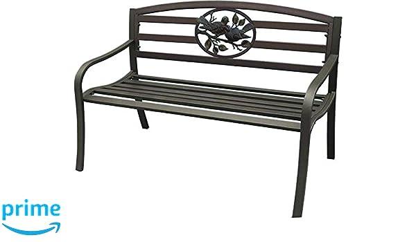 Terrific Amazon Com Terra Verde Home Steel Park Bench With Bird Creativecarmelina Interior Chair Design Creativecarmelinacom
