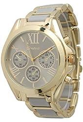 Women's Geneva Roman Numeral Gold Plated Metal/Nylon Link Watch - Grey