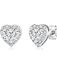 925 Sterling Silver Heart Shape Women's Halo Cubic Zirconia Earring (2.32 Cttw. 5MM Center Stone)