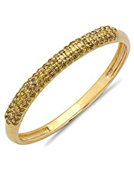 0.20 Carat (ctw) 10k Yellow Gold Round Yellow Diamond Ladies Bridal Wedding Band Stackable Ring 1/5 CT