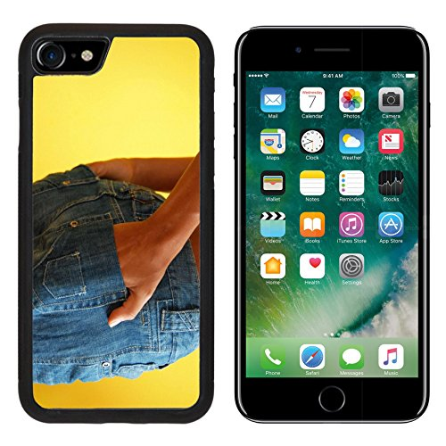 Skinny Apple Pocket Jean (MSD Premium Apple iPhone 7 Aluminum Backplate Bumper Snap Case iPhone7 IMAGE ID: 7234758 young skinny girl in blue jeans over yellow with hands in pockets)