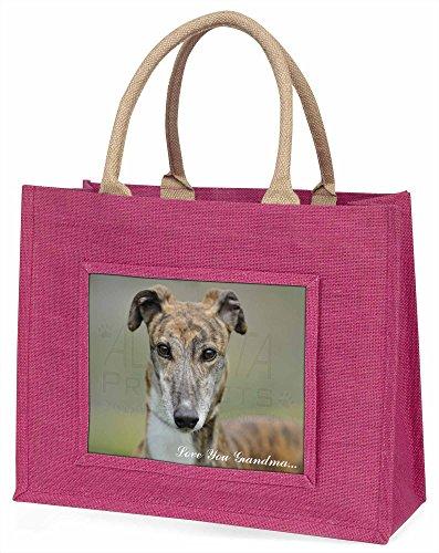 Advanta Windhund Hund, Love Sie Grandma Große Einkaufstasche Weihnachten Geschenk Idee, Jute, Rosa, 42x 34,5x 2cm