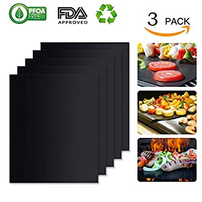 DOLDOA Non-Stick BBQ Grill Mat,Grill Baking Mats,FDA Approved,Reusable,Heat Resistant,Durable,Easy to clean,BBQ Accessories Perfect for Gas,Charcoal,Electric Grill and More,12.9 x 15.7 inch,Black