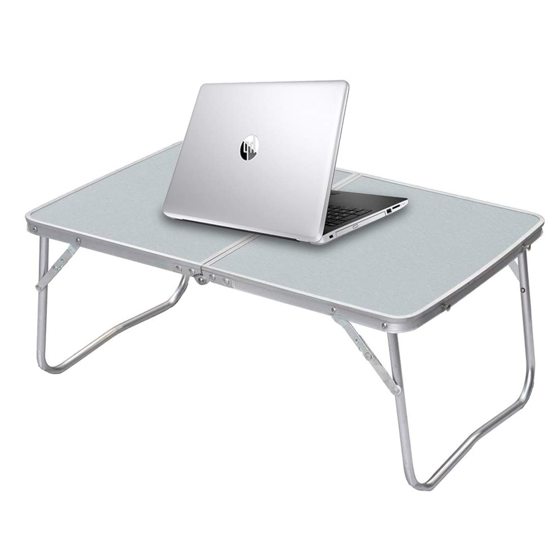 Foldable Laptop Table for Bed, Folding Lap Desk Breakfast Serving Tray, Notebook Stand Reading Holder for Couch Floor, Folds in Half w' Inner Storage Space with Aluminium Alloy Legs, Silver