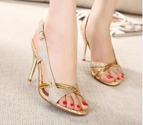 Fashion Women Nozzle 34 Fine with Sandals Heeled Fish yalanshop Shoes Gold High FEqwgdd0