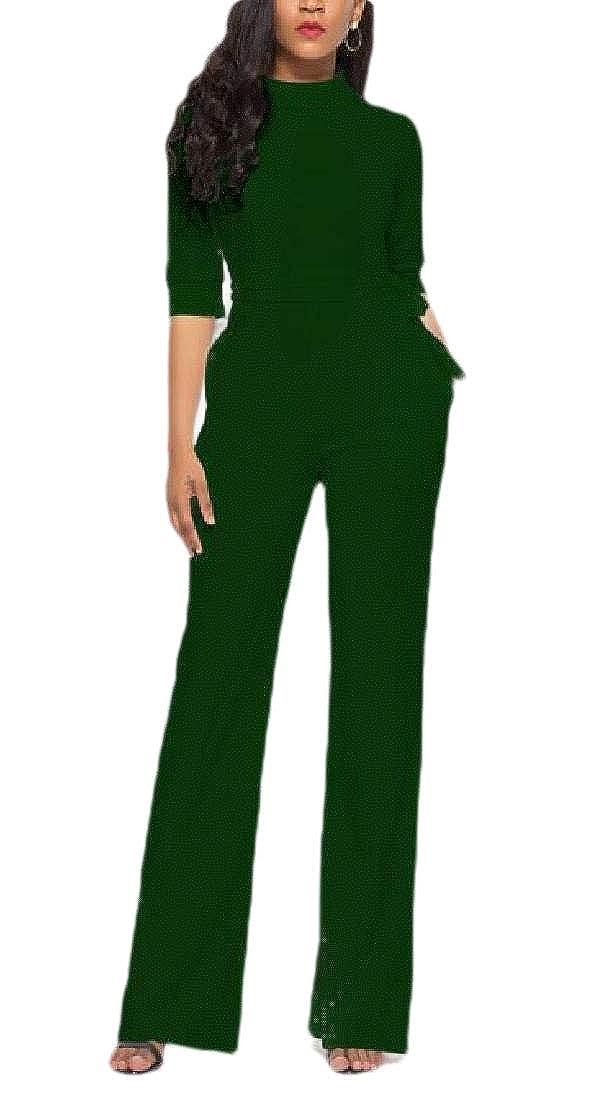 RRINSINS Womens Wide Leg Jumpsuits High Waist Solid Color Long Pants Romper with Belt