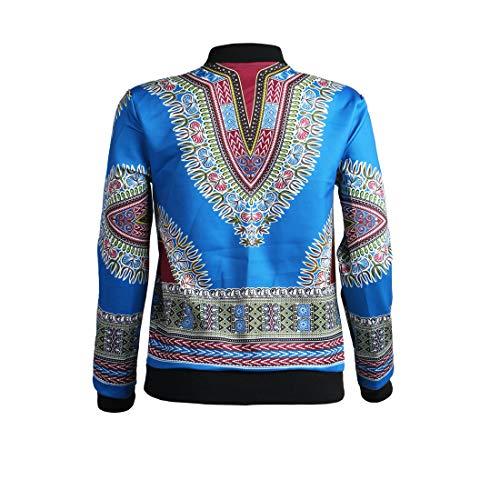 Africano Autunno Stampa Casual Lunga Coat Giacche Trenchcoat Jacket Zip Cappotti Azzurro E Giacca Manica Outerwear Bomber Primavera Cime Vintage Tops Moda Donna Con 4CacZxqCw5