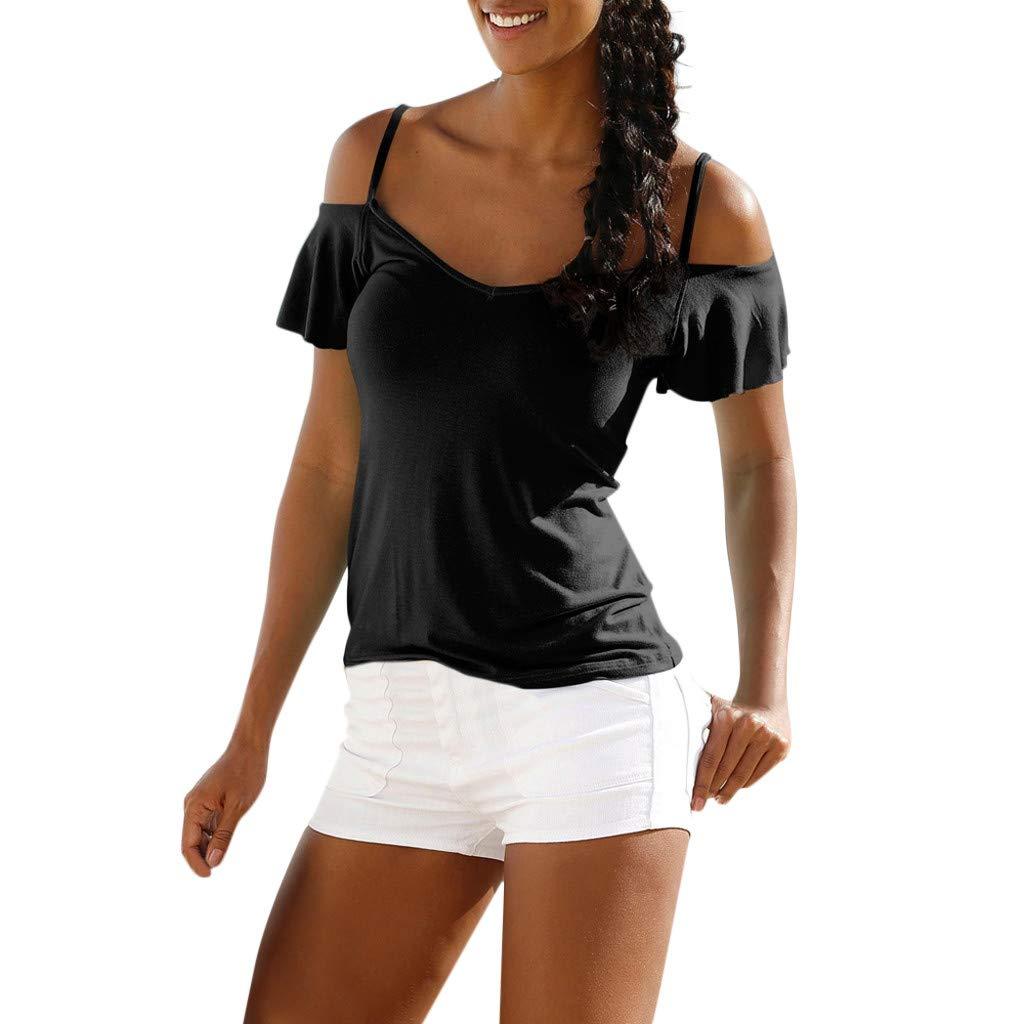 Duseedik Summer Women's Tops Off Shouder Blouse Solid Casual Strap V-Neck Pullover Tunic T-Shirt Black