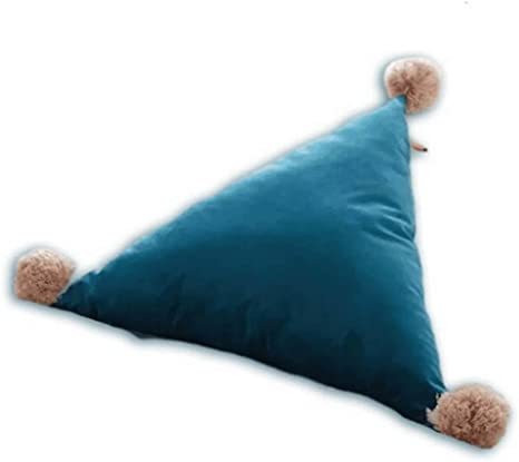 Yekeyi Triangle Shaped Pillow Detachable Waist Pillows Cushion With Pompoms Ball Throw For Bed Sofa Car Blue Home Kitchen
