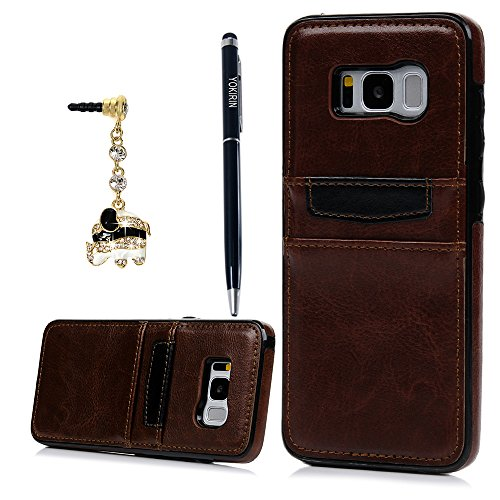 Galaxy S8 Plus Case, YOKIRIN Slim Fit Snap On Executive Wallet Cover Dual Layer Protective Skin with Card Slot Holder Advanced Shock Absorption PU Leather Shell for Samsung Galaxy S8 - Por Photo
