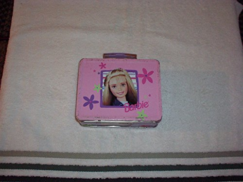 Vintage Mattel BARBIE Doll Flower Accents & Photos Cover Pink Tin LUNCHBOX (1998) Rare, Collectible - Mattel Collectible Dolls