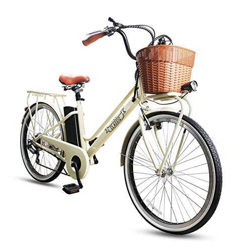 NAKTO/SPARK 26'' Ebike City Electric Bicycle 250W Electric Bike for Women Removable Large Capacity 36V 10Ah Lithium Battery with Battery Charger (White)