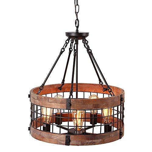Anmytek Round Wooden Chandelier Metal Pendant Five Lights Decorative Lighting Fixture Antique Ceiling Lamp (Five Lights) by Anmytek (Image #5)