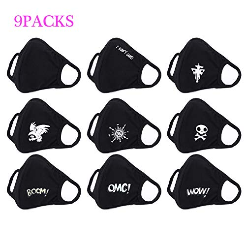 Dodoshop 9 Pack Funny Pattern Cute Unisex Cotton Blend Anti Dust Face Mouth Mask Black for Man Woman ()
