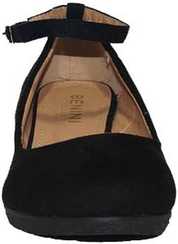 BENINI SHOES Zapato CUÑA Tira A6143 Zapatos Cuña Mujer con Pulsera Camel Negro Casual Cómodos