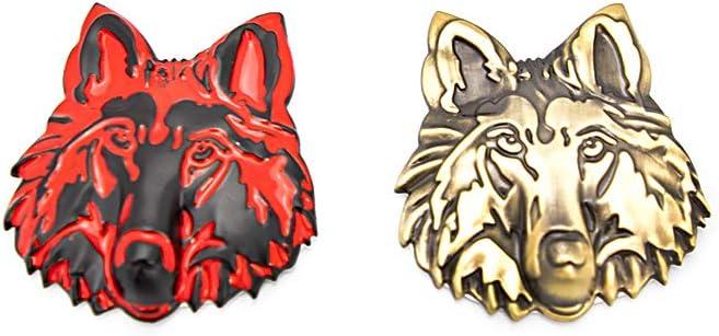 CARRUN 2 pcs 3D Metal Wolf Head Shape Car Side//Rear//Front Decorations Emblem Badge 3D Metal Sticker Decals Logo Gold