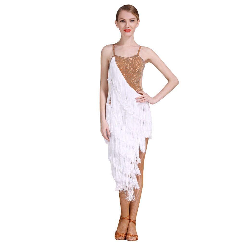 レディース半袖タッセルラテンダンスドレス、アダルトバレエタンゴダンスドレス B07J457MPG XXL|白 白 XXL