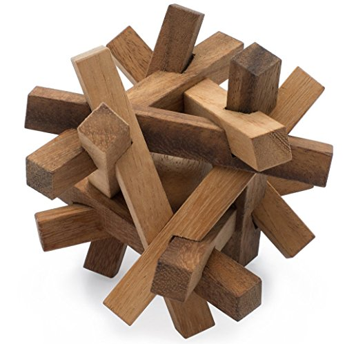 SiamMandalay Ball in a Cage: Handmade & Organic 3D Wooden Puzzle for Adults from with SM Gift Box(Pictured)
