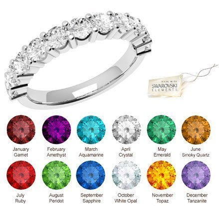 Glimmering Authentic - SWAROVSKI CRYSTAL JULY- Birthstones - Nickel Free Rings 14mm Round Cut | Fashion...
