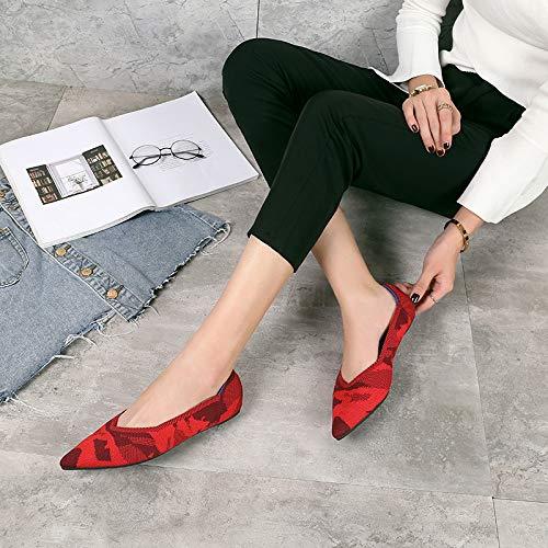 Tamaño Rojo Fuxitoggo Con De Mujer Tacón Zapatos Cuadros Rojos 40 Rojo Eu Punta color Alto Entallada Ballet qOaAq