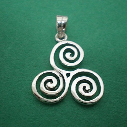 18 Inches Handmade Silver Triple Spiral Triskele Pendant -