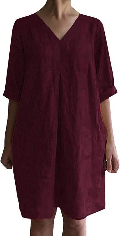 Sylar Vestidos Mujer Casual Cortos Vestido De Algodón Y Lino con Cuello En V Vestidos Verano Mujer Media Manga Sólida Mini Vestidos Playa Mujer: Amazon.es: Ropa y accesorios
