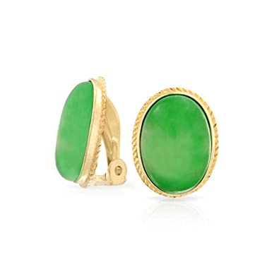 d5d436dbeac 7 CTW Oval Green Jade Gemstone Rope Cable Bezel Setting 14K Gold Plated  Sterling Silver Clip