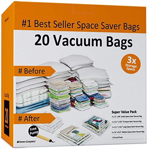 Home-Complete Vacuum Storage Bag Bundle - 20 Space Saver Bags and Free Travel Pump - Save Closet Space with Airtight Bags Vacuum Pump Supply