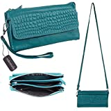 Prime Clearance Sale & Deals Day 2017-Valentoria® Women's Large Capacity Leather Wallet Purse Smartphone Wristlet Clutch with Shoulder Strap (Teal Blue)