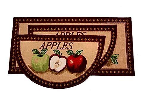 Kashi Home Mixed Apple 3pc Kitchen Rug Set, (2) Slice 18