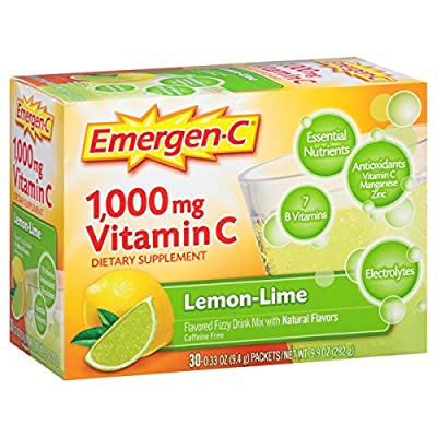Emergen-C (30 Count, Lemon-Lime Flavor, 1 Month Supply) Dietary Supplement Fizzy Drink Mix with 1000mg Vitamin C, 0.33 Ounce Packets, Caffeine Free