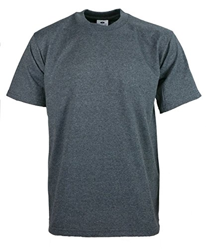 Men's proclub Heavy Weight solid crewneck short sleeve shirts Charcoal (Solid Crewneck T-shirt)