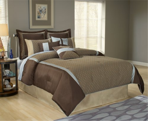 Fashion Bed Group 82EQ712STK Paramount Stockton 11-Piece Comforter and Stuffed Euro Pillow Bed Ensemble Super Pack, (Super Pack Comforter Ensemble)