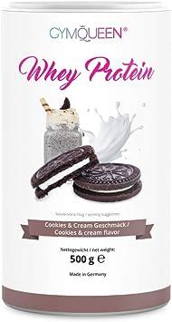 GymQueen Proteína de Whey - Proteína de suero de leche concentrada e aislada, Cookies & Cream, 500 gr.
