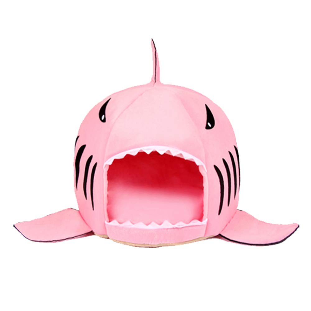 B_Pink S(16.516.514.5inch) B_Pink S(16.516.514.5inch) Spring Fever Shark Pet Dog Cat Bed Round Removable Cushion Waterproof House B_Pink S(16.516.514.5 inch)