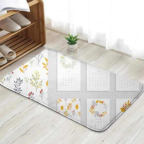 Cool pillow Printable Calendar 2019 Beautiful Botanical The Arts Personalized Custom Doormats Indoor/Outdoor Doormat Door Mats Non Slip Rubber Kitchen Rugs 23.6 X 15.8 Inch