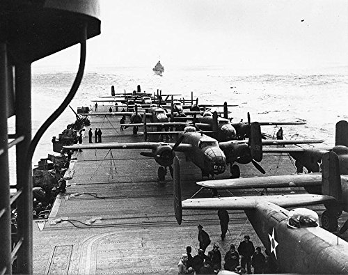 LAMINATED POSTER North American B-25 Mitchell medium bomber on the flight deck of USS Hornet (CV-8), while en route (Bomber Deck)