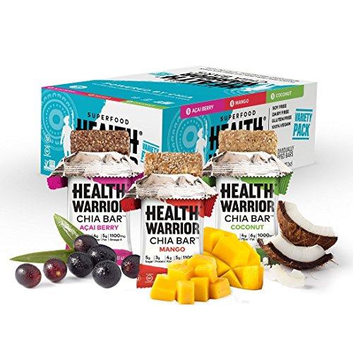 HEALTH WARRIOR Chia Bars, Tropical Variety Pack, Gluten Free, 25g bars, 15 Count