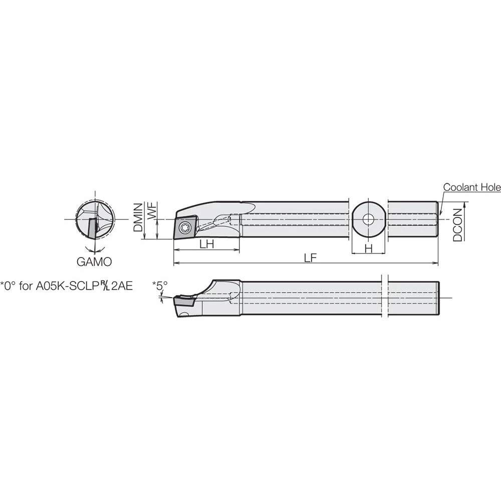 Dynamic Bar Coolant-Through Boring Bar with 5 Degree Lead Angle and 0.7000 Minimum Bore Dia. Kyocera A10RSCLPR3AE Right-Hand Positive Rake